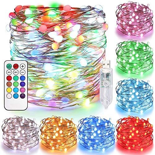 Tencoz Guirlandes Lumineuses, 10M 100 LED USB Guirlandes Lumineuses Étanches d'Extérieur et Intérieur, Lumières LED Colorées Fairy Lights pour Sapin Noël Chambre Mariage Fête