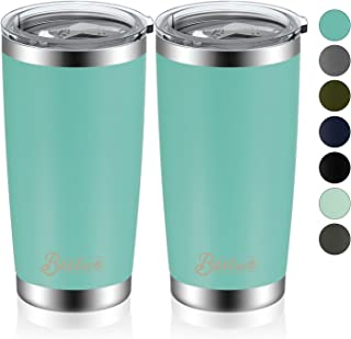Bastwe 2 Pack 20oz Vacuum Insulated Tumblers with Lid and Straw, Double Wall Stainless Steel Travel Mug, Works Great for Ice Drink, Hot Beverage (Tiffany Blue)