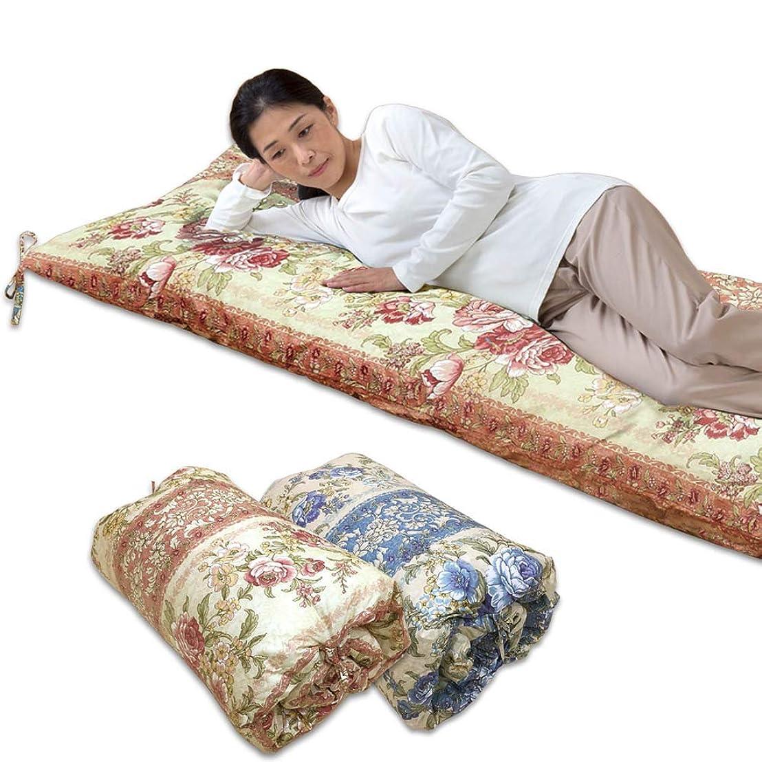 名詞しわ小説ごろ寝長座布団 75×185cm 日本製 なかわた2.4kg入り 高密度生地 綿100% 丸めて収納 紐付き (ピンク)