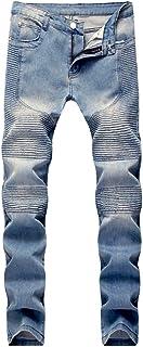 Believe Simple Men's Slim Fit Vintage Distressed Motorcycle Jeans Runway Biker Denim Jeans