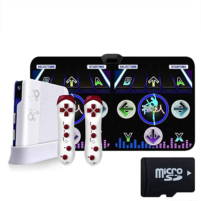 Plug and Play Dance Mat Built-in Games Console for PC TV 11MM PVC+2 Controllers,English HDMI Wireless Double User Video Game Dance Pad for Kids Adults Multi-Function Games and Music and Levels