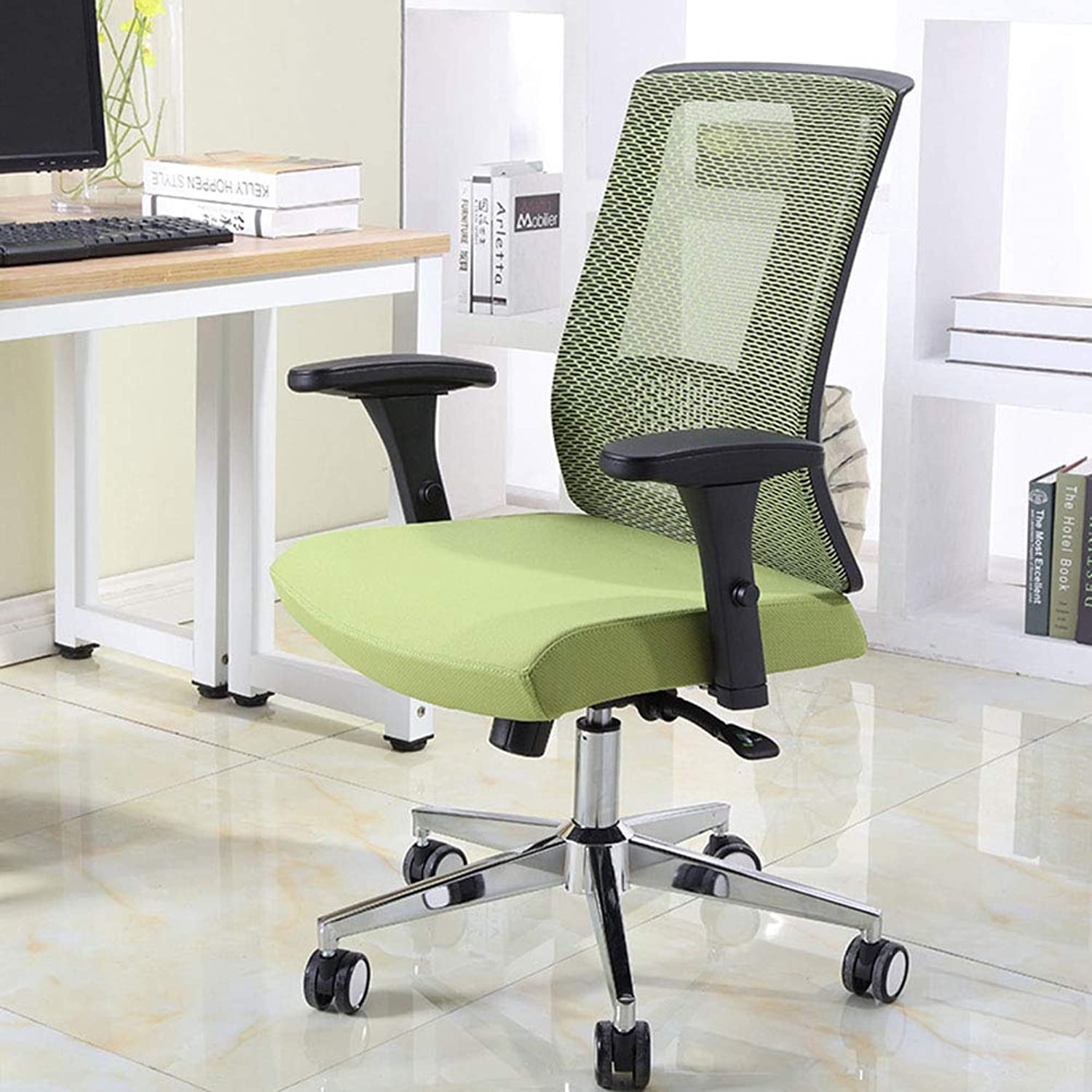 Office Swivel Chair, Home Mesh Seat Employee Armrest Chair 360 Degree Swivel Adjustable Seat Height Lever Operator Chairs Ergonomic Concept Durable and Stable