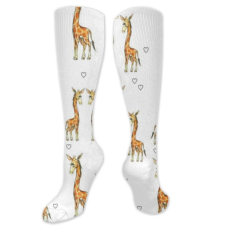未来割る補体靴下,ストッキング,野生のジョーカー,実際,秋の本質,冬必須,サマーウェア&RBXAA Giraffes Hearts Socks Women's Winter Cotton Long Tube Socks Knee High Graduated Compression Socks