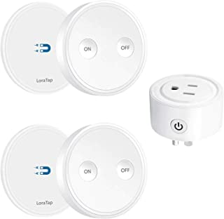 LoraTap Mini Remote Control Outlet Plug Adapter with Remote, 656ft Range Wireless Light Switch for Household Appliances, No Hub Required, 10A/1100W, White, 5 Years Warranty (2 Remotes + 1 Outlet)