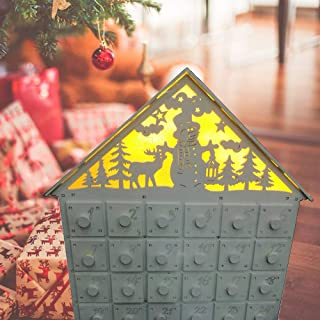 Ruimin LED Light Christmas Countdown Calendar DIY Wood Advent Calendar with 24 Mini Box Candy Jewelry Container, Refillable Wooden Advent Xmas Gift for Kids