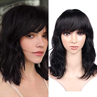 WIGNEE 100% Virgin Human Hair Natural Wave Wigs with Bangs Brazilian Human Hair Wave Wigs Natural Black Color (12 Inch)