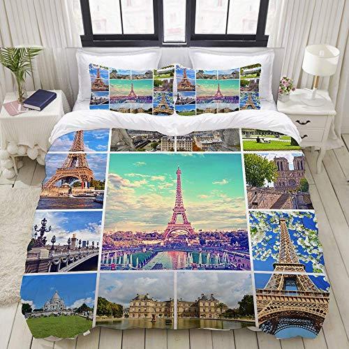 Bettbezug, schöne Fotos des Pariser Eiffelturms und Anderer berühmter Orte und Wahrzeichen von Paris, dekorative 3-teilige Bettwäsche-Sets mit 1 Bettbezug und 2 Kissenbezügen