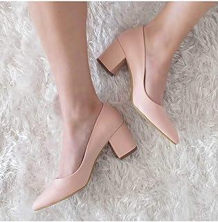 Kalın Topuklu Kısa Stiletto Bayan Ayakkabı Pudra Gudanle