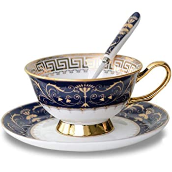 Krysclove Vintage Ceramic Teacup, Elegant Coffee Cup with Spoon and Saucer Set, Fine Royal Bone China Tea Cups (Blue)