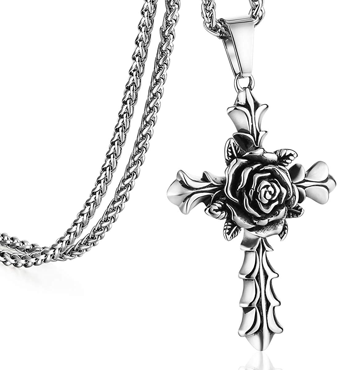 COTTVOTT Rose Cross Pendant Necklace for Women Stainless Steel Link Chain Body Jewelry 21.65