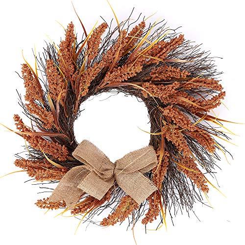 H&W 18'' Large Autumn Golden Sorghum Wreath Door - Thanksgiving Wall Ornament Garland Decoration - Celebrate Harvest Home Decorat