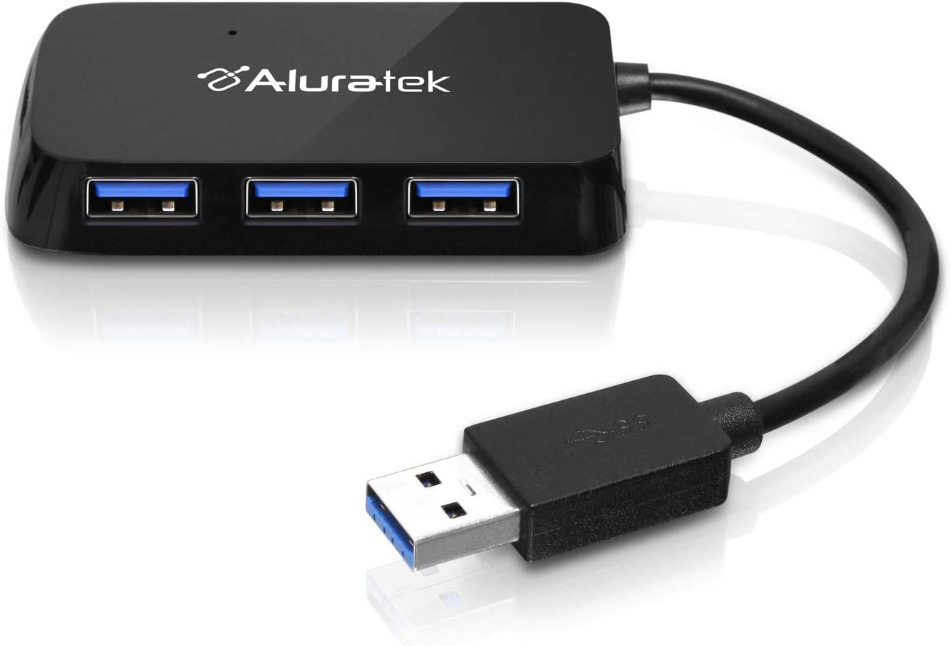Aluratek 4-Port USB 3.1 SuperSpeed Hub with Attached Cable (AUH2304F)