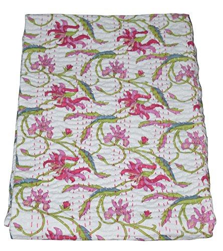 Majisacraft - Colcha india vintage, diseño de flores, color blanco indio, kantha, colcha decorativa de punto Kantha, colcha de cama, decorativa de tamaño individual 150 x 220 cm