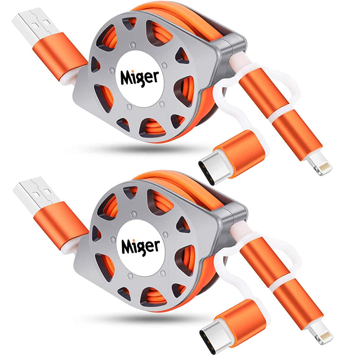 2Pack Miger 3.3Ft Retractable Charge and Sync 3 in 1 Cable with Lightning & Micro USB & Type C Connectors Compatible with iPhone, iPad, iPod, Samsung/HTC/LG, Nexus,Onplus,Apple MacBook(Orange)