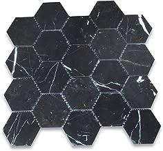 Nero Marquina Black Marble Hexagon Mosaic Tile 3 inch Honed