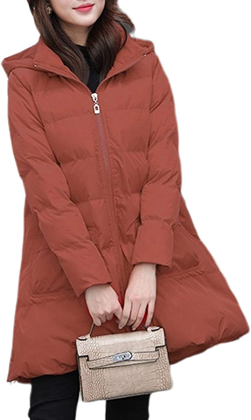 Uaneo Women's Mid Long Casual Loose A-Line Swing Hoodie Quilted Padded Parkas Jackets
