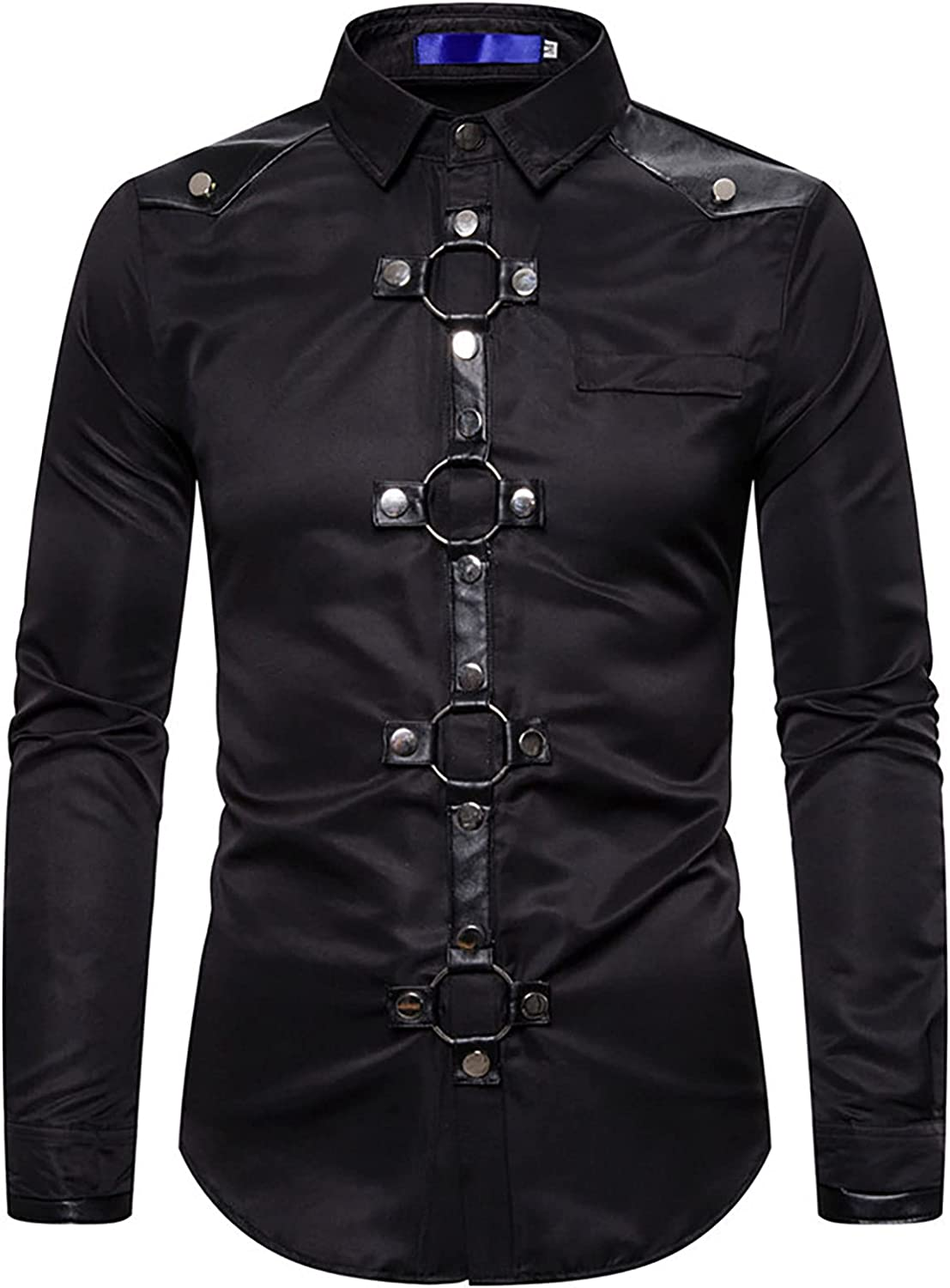 Sales for Award-winning store sale Aislor Men's Punk Leather Short Sleeve Rivet Shirts Rin Gothic O