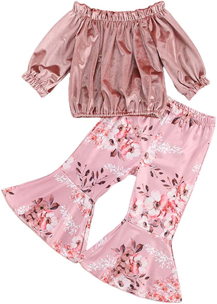 Newborn Toddler Baby Girl Long Sleeve Floral Romper Bodysuit Bell Bottom Flare Pant 2Pcs Clothes Outfit Set