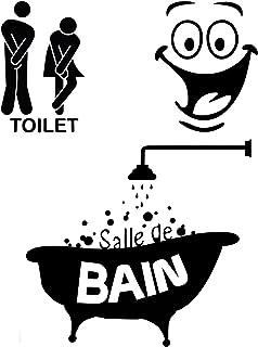 Foonii 3 PCS Autocollant Mural, Toilette/salle de bain/Baignoire Porte Autocollant Stickers Muraux, Créatif Imperméable Am...