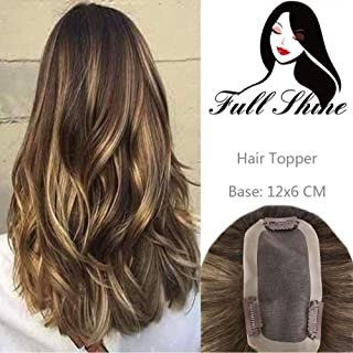 Full Shine Clip In Toppers Closure Human Hair 16 Inch Per Pack 39 Gram One Piece Ombre #4 Medium Brown Fading To #27 Honey Blonde And #4 Medium Brown Balayage Color 12×6cm Hand Made Top Hair