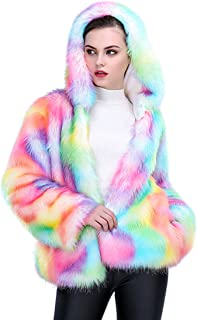 JTENGYAO Women Faux Fur Coat Rainbow Color Winter Thick Outerwear Fur Jacket Parkas with Hood