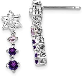 925 Sterling Silver Pink Quartz Diamond Post Stud Earrings Drop Dangle Fine Jewelry Gifts For Women For Her