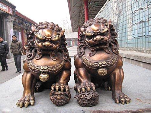 YUNHAO - Par de Figuras Chinas clásicas de Cobre de Bronce para Puerta de guardián Bei Jing Fu Foo, diseño de león, para decoración de Manualidades y esculturas