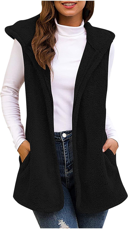 Womens Sherpa Fleece Hooded Vest Coat Waistcoat Outerwear Open Front Sleeveless Faux Fur Furry for Fall Winter Warm