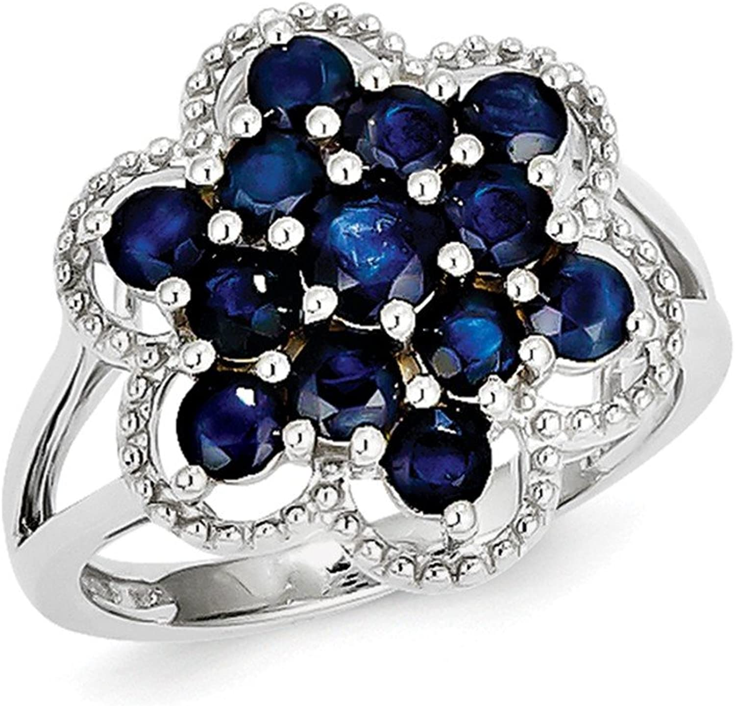 925 Sterling Silver Rhodium Plated bluee Sapphire Flower Ring
