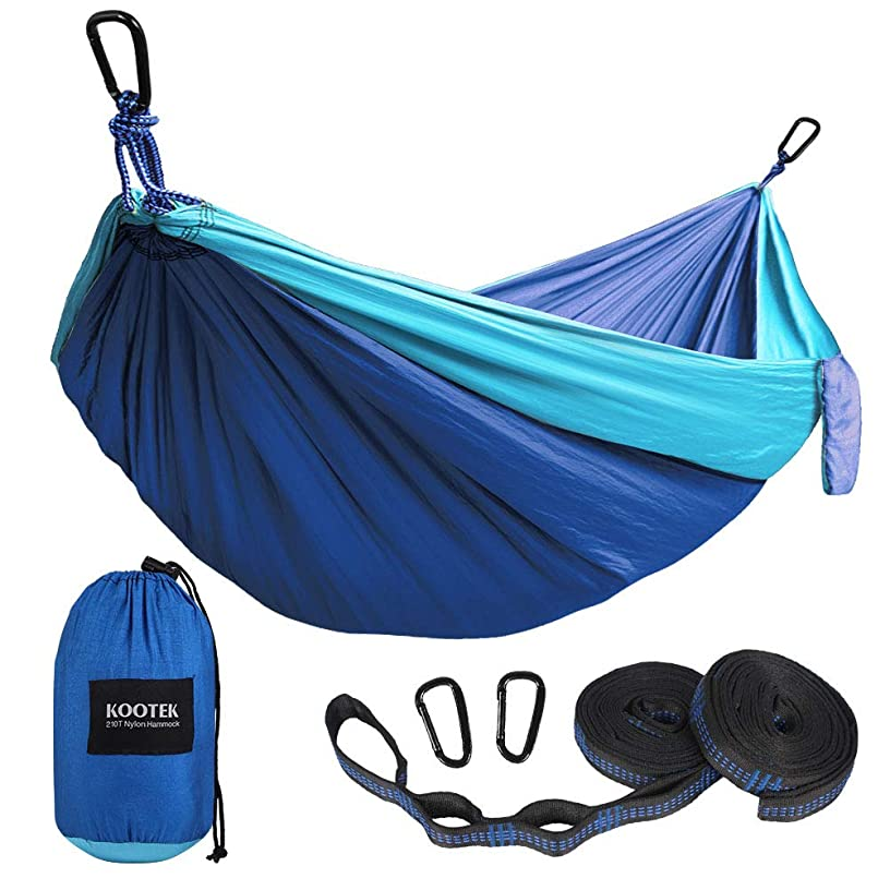 Kootek Camping Hammock Portable Indoor Outdoor Tree Hammock with 2 Hanging Straps, Lightweight Nylon Parachute Hammocks for Backpacking, Travel, Beach, Backyard, Hiking