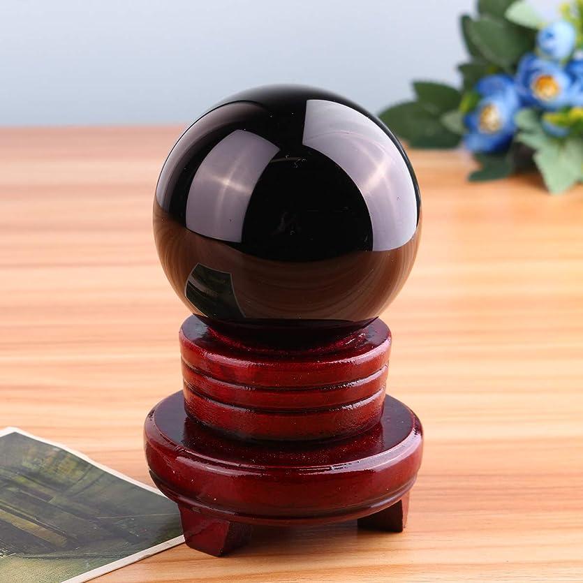 示すテセウス一般的にQueenwind 80mm ブラックオブシディアンクォーツクリスタル球ボールヒーリング宝石とスタンドオフィスルームデコレーション
