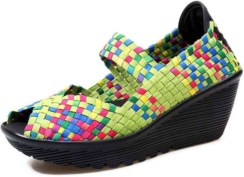 MEIZOKEN Women's Wedge Mary Jane Sandals Fashion Peep Toe Weave Platform Mid Heel Non-Slip Sandals shoes