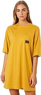 Stussy Women's Mason Tee Dress Crew Neck Cotton Jersey Yellow