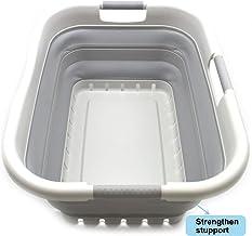 SAMMART Collapsible Plastic Laundry Basket - Foldable Pop Up Storage Container/Organizer - Space Saving Hamper/Basket (3 Handled Rectangular, Grey/Grey)