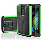 LG K7 Case, LG Tribute 5 Case,TILL [Resilient Series] Shock Absorbing Dual Layer Hybrid Rubber Plastic Impact Defender Rugged Slim Hard Case Cover Shell for LG Tribute 5 / K7 All Carriers [Green]