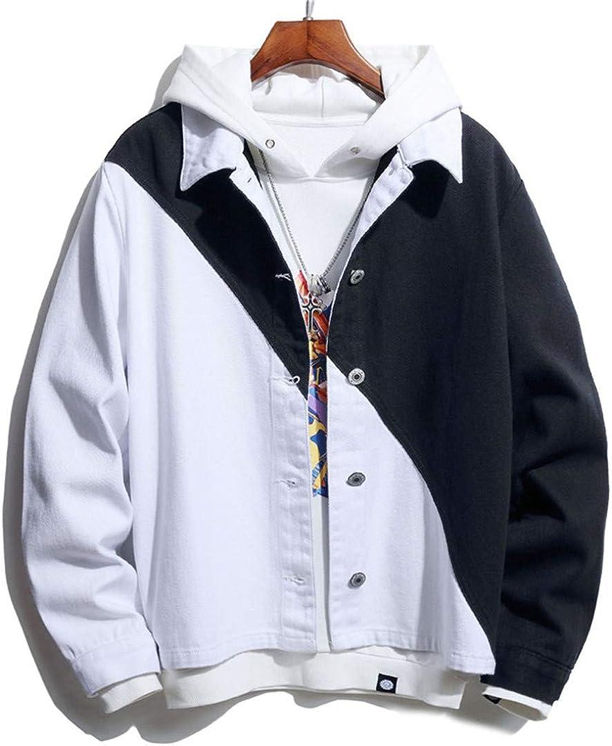 MilaBrown Men Streetwear Two-Tone Patchwork Jean Jackets Motorcycle Man Hip Hop Cotton Casual Denim Jackets White Black M