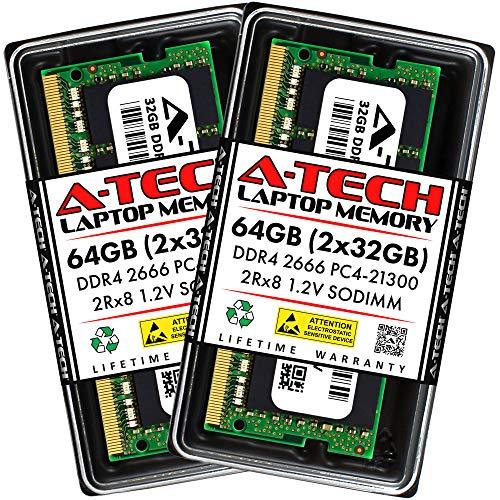 A-Tech RAM 64GB (2x32GB) DDR4 2666MHz SODIMM PC4-21300 (PC4-2666V) CL19 2Rx8 1.2V Non-ECC SO-DIMM 260 Pin - Laptop, Notebook & AIO Computer Memory Upgrade Kit