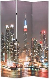 ROMELAREU Cloison de séparation Pliable 120x180 cm New York la Nuit Meubles Séparateurs de pièces