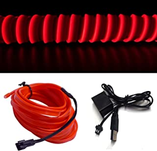 M.best USB Neon LED Light Glowing Electroluminescent Wire/El Wire for Automotive Interior Car Cosplay Decoration with 6mm Sewing Edge (5M/15FT, Red)