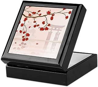 CafePress Pretty Cherry Blossom Against A Japanese Backgroun Keepsake Box, Finished Hardwood Jewelry Box, Velvet Lined Memento Box