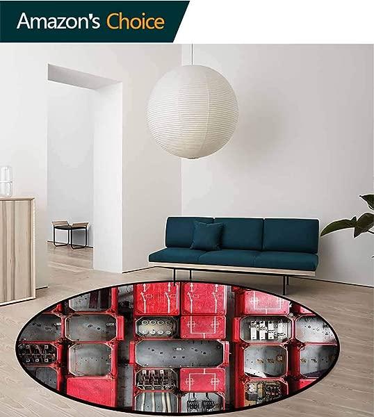 RUGSMAT Industrial Round Area Rugs Living Room Fuse Cabinet Non Slip Rug Diameter 24