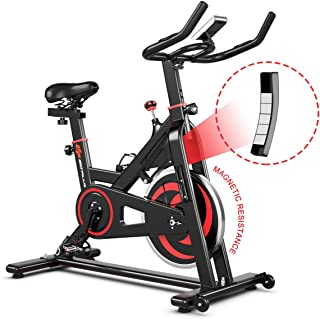 GOPLUS Indoor Cycling Stationary Bike, Noise-Free Belt Drive Exercise Bike w/LCD Monitor and Heart Rate Sensor, Magnetic Bicycle for Home Gym Cardio Workout
