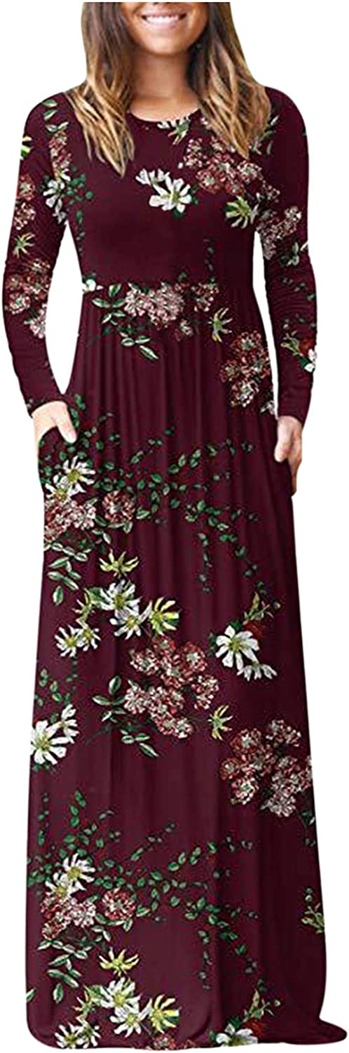 Women Long Sleeve Floral Maxi Dress with Pockets, Casual Loose Round Neck High Waist Bohemian Beach Dresses