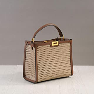 Fashion Business Spell Color Hollow Perforated Calfskin Leather Bag Mobile Messenger Bag Ladies (Color : Gray)