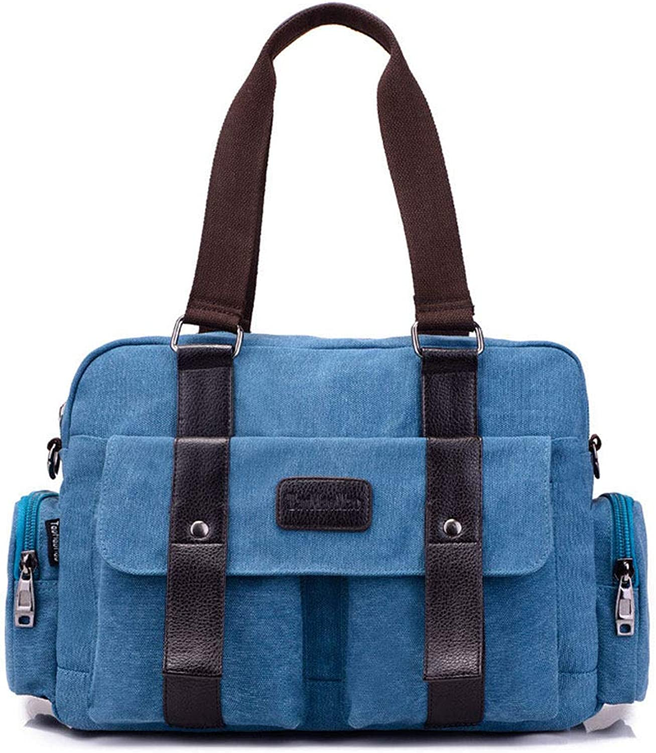 Large Capacity Canvas Holdall Weekend Travel Duffel Bag Outdoor Travel Bag Backpack Messenger Shoulder Bags,bluee