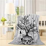 SIGOUYI Lightweight Fleece Blankets Reversible Throw Cozy Plush Microfiber All-Season Blanket for Bed/Couch - Throw 40x50 Inch, Skull Tree Grey