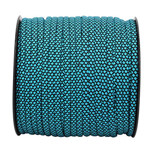 DAUERHAFT Sturdy Paracord Camping Lanyard Paracord 50M 4mm Durable Portable 7Cord for Tent Topes,Bracelets,Necklaces,Belts,Watchbands,Dog Collars,etc.(Blue black)