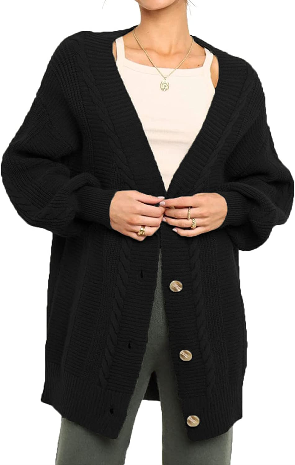Womens Cardigan Sweater with Button Open Front Long Sleeve Thick Warm V Neck Chunky Knit Outwear