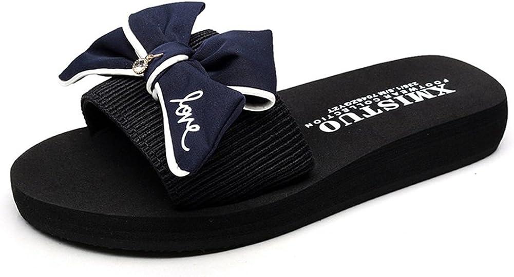 GIY Women Fashion Bowknot Bohemian Platform Slide Sandals Flat Anti-Slip Outdoor Summer Beach Sandals