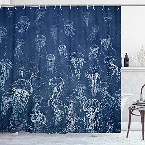 Accnicc Duschvorhang-Set, marineblau, Quallen, Ombre, Ombre, Meer, Tiere, Stoff, Duschvorhänge, modernes Badezimmer, 183 x 183 cm (blau)